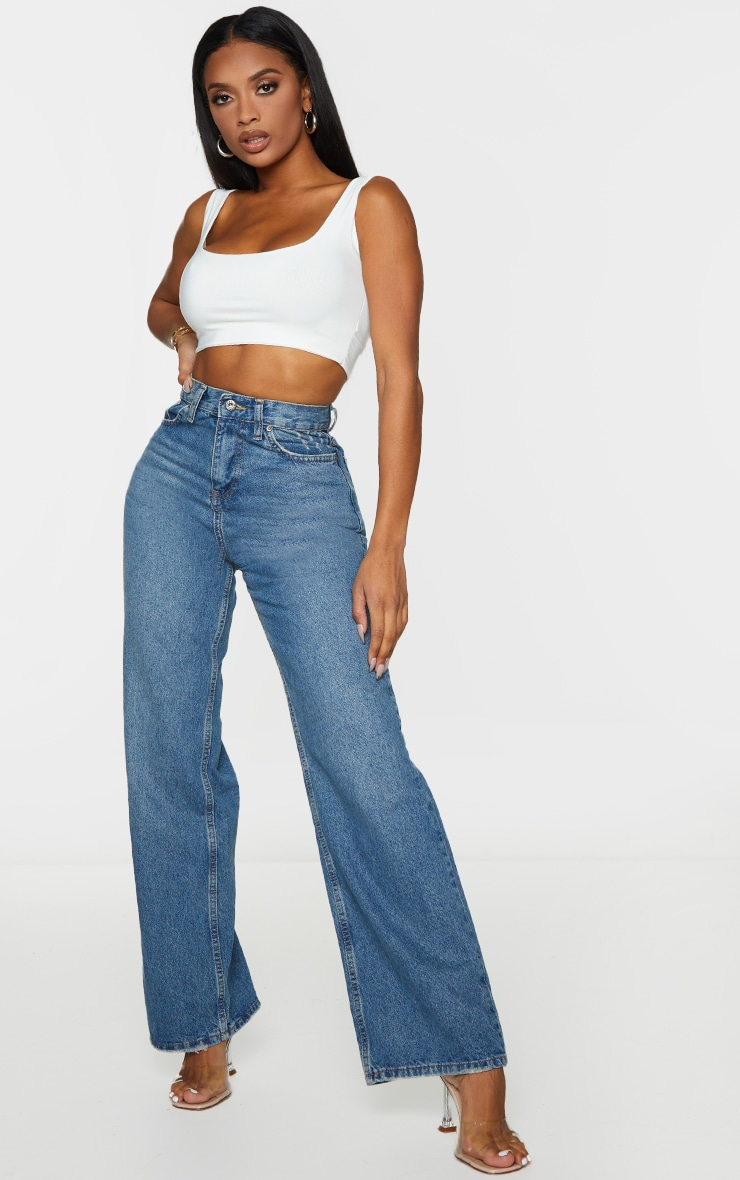 Shape Vintage Wash Denim Wide Leg Jeans 1