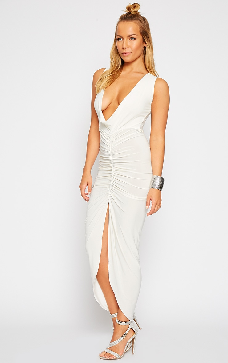 Meghan Cream Slinky Ruched Maxi Dress 4