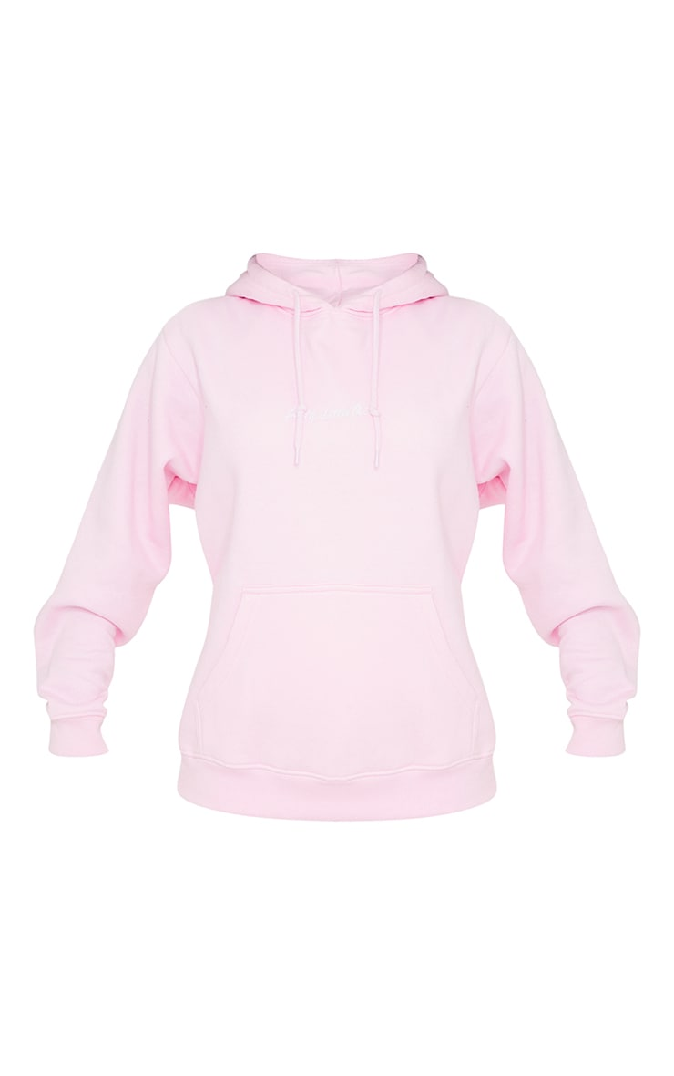 PRETTYLITTLETHING Light Pink Embroidered Oversized Hoodie 5