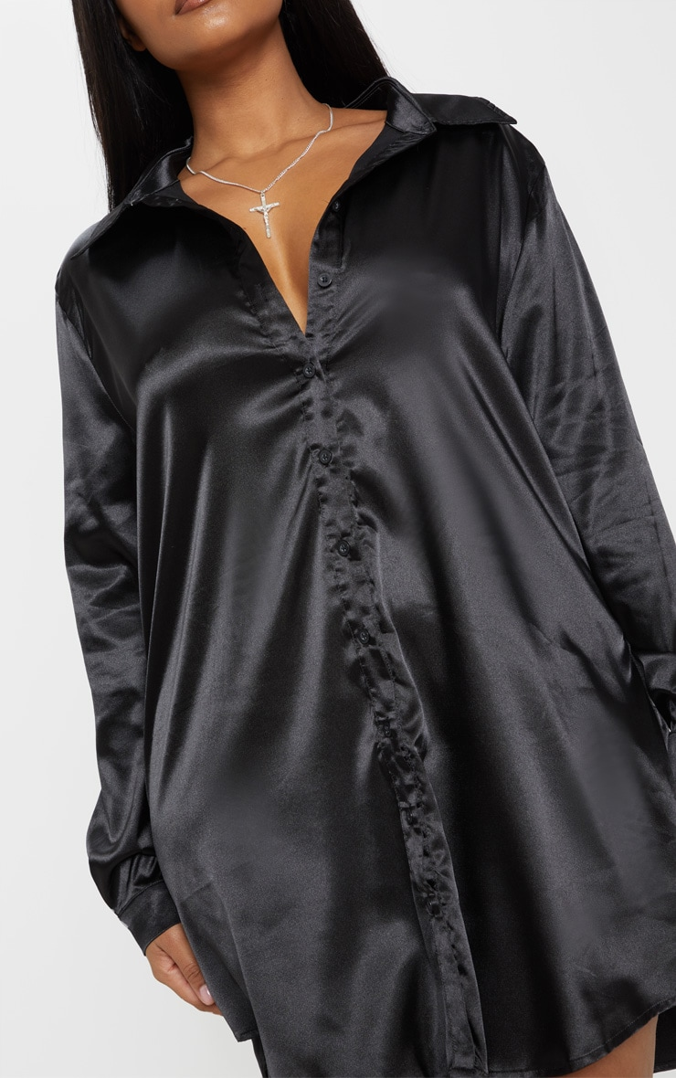 Plus Black Satin Button Front Shirt Dress 5