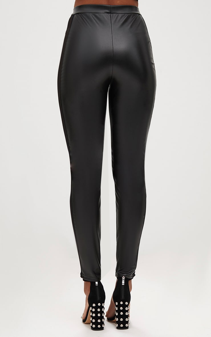 Black Faux Leather Mesh Panel Skinny Trousers 4