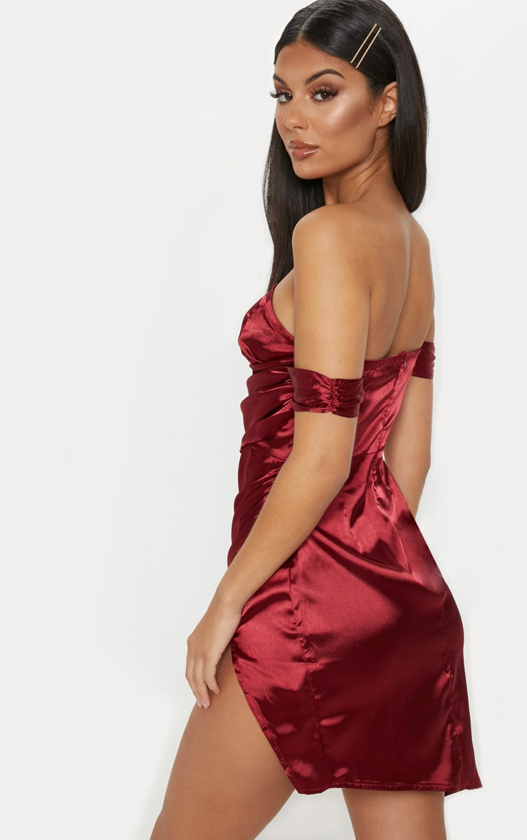 Burgundy Satin Bardot Drape Bodycon Dress 2