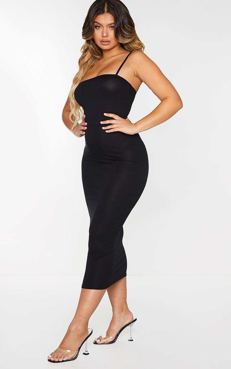 Black Jersey Spaghetti Strap Midaxi Dress 3