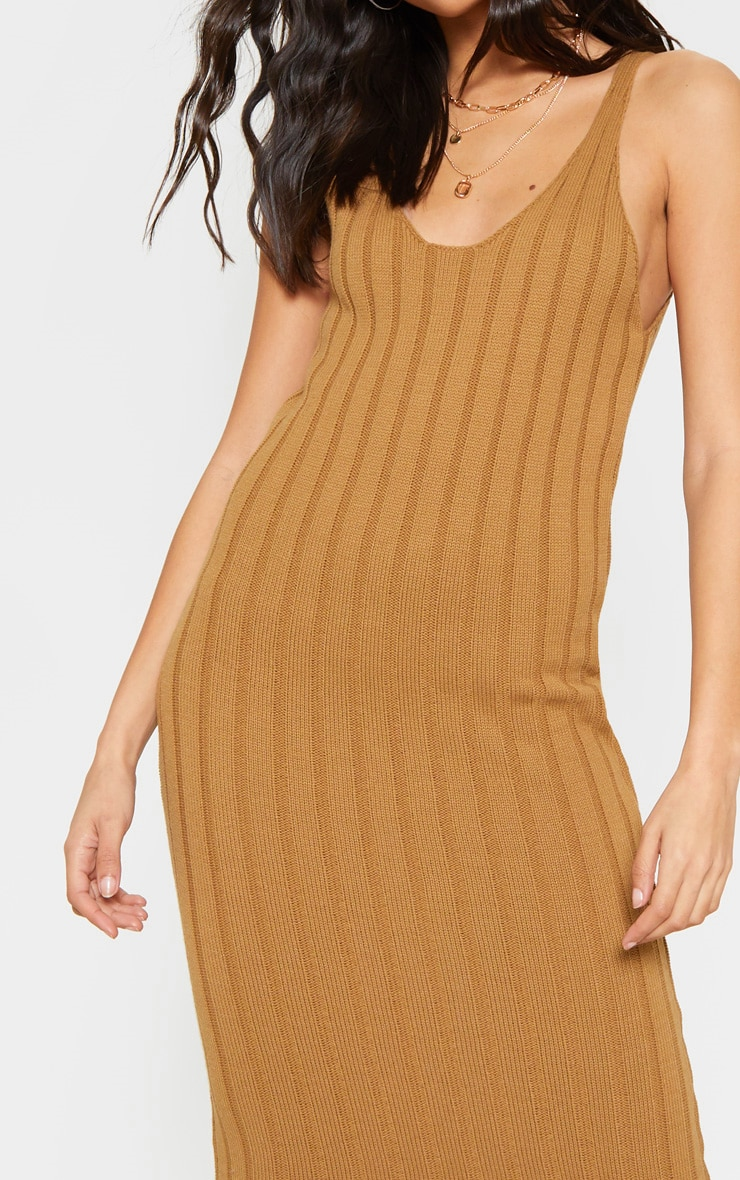 Camel Ribbed Knitted Maxi Dress 5