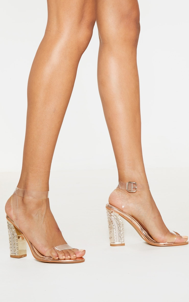 Rose Gold Clear Strap Ornate Heels 2