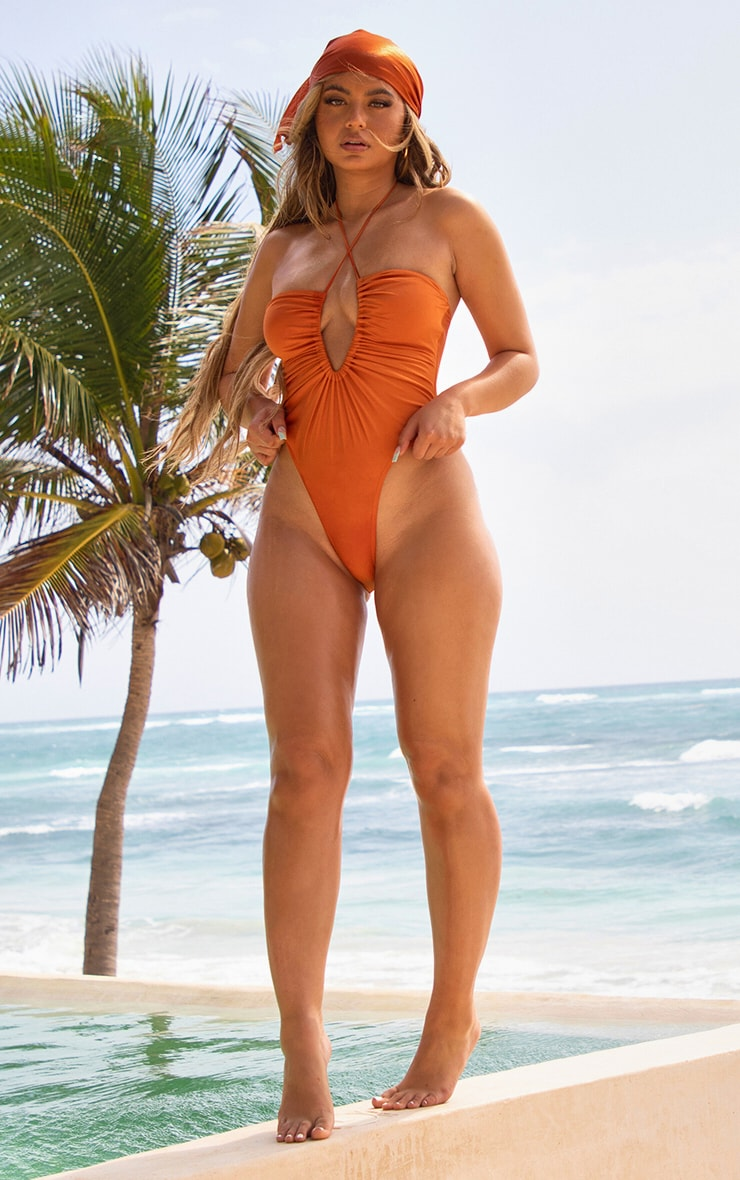 Orange Scoop Neck Ruched Swimsuit 3