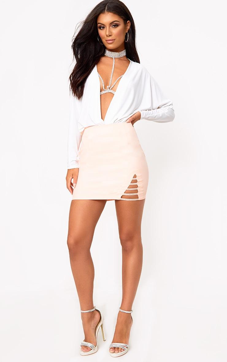 Nude Diamond Split Mini Skirt 4