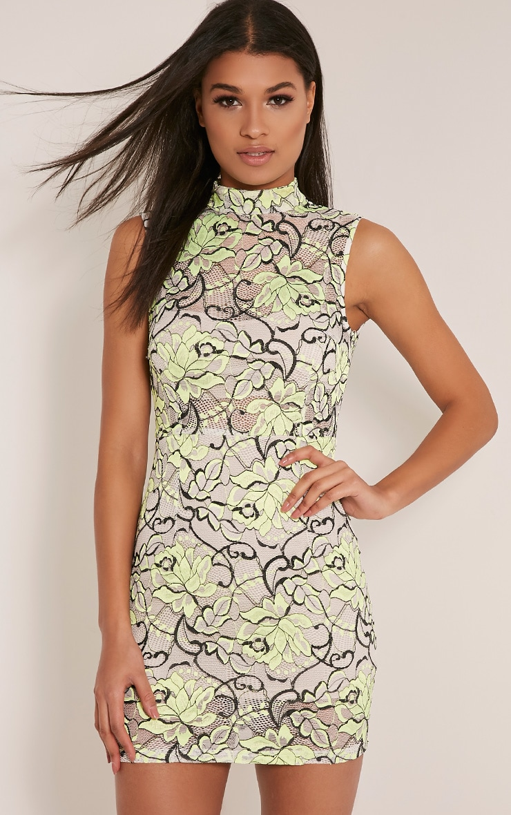 Saffie Lime High Neck Lace Bodycon Dress 1