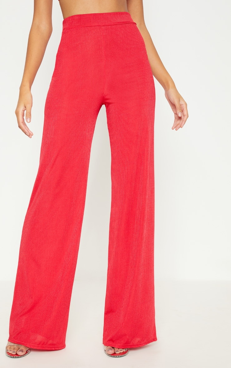 Red Rib Slinky Wide Leg Trouser 2