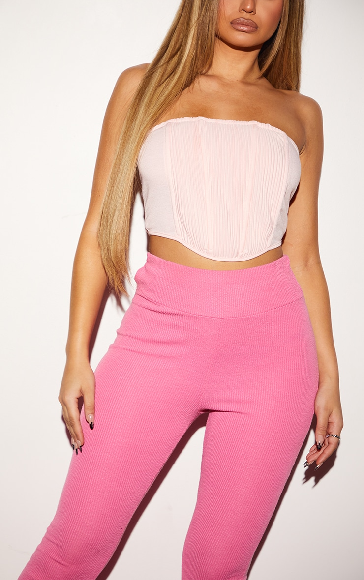 Pink Woven Pleated Curved Hem Corset 4