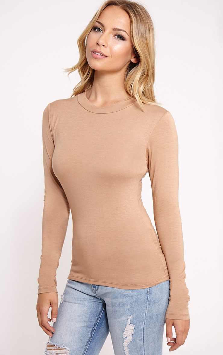 Basic Camel Turtle Neck Jersey Top 4