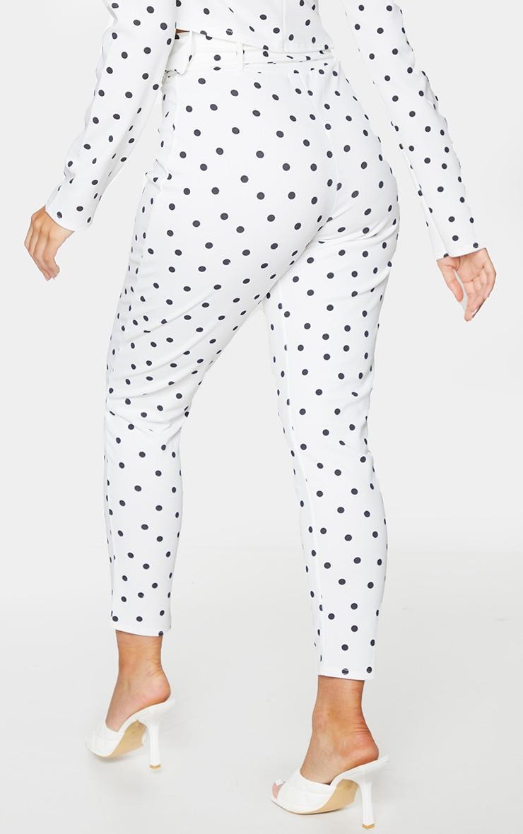 White Polka Dot Print High Waisted Belted Trouser 3