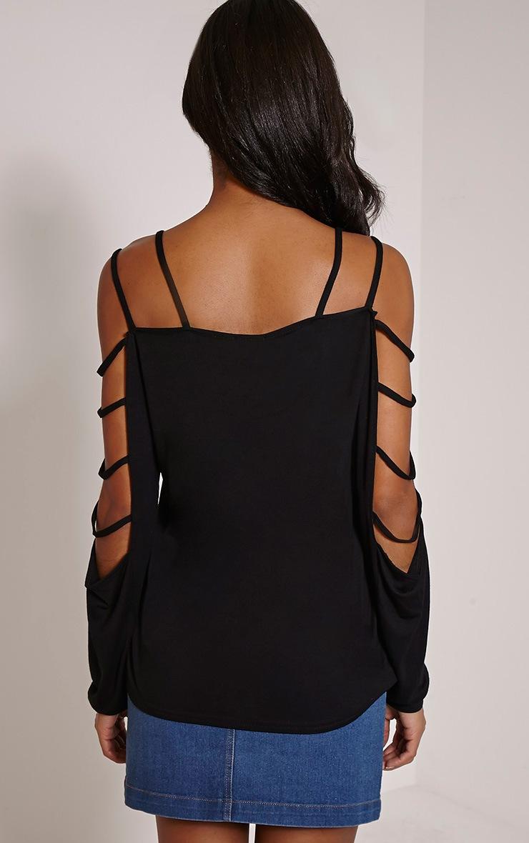 Leesa Black Strappy Sleeve Fit Top 2