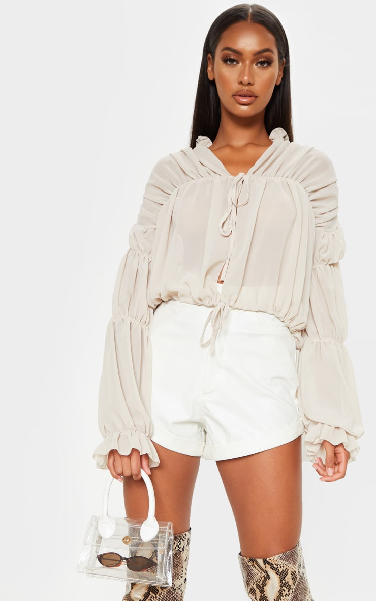 Beige Sheer Ruched Tiered Blouse 4