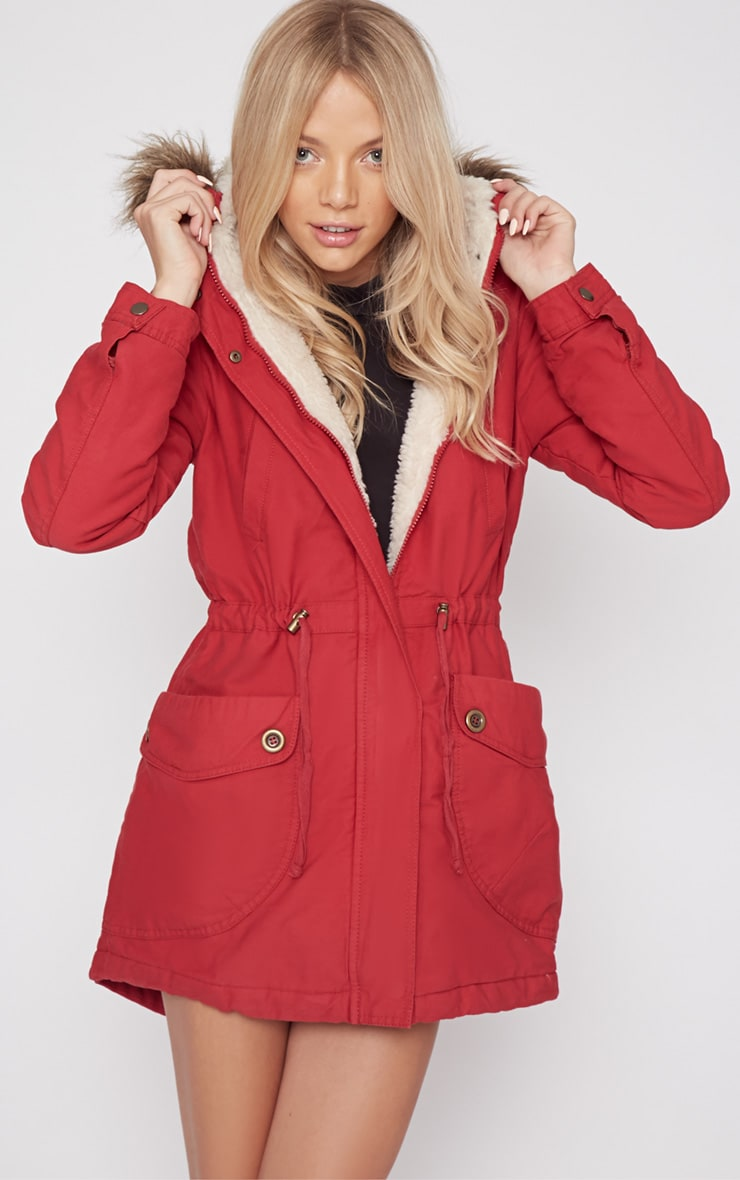 Andrea Red Parker Coat 1