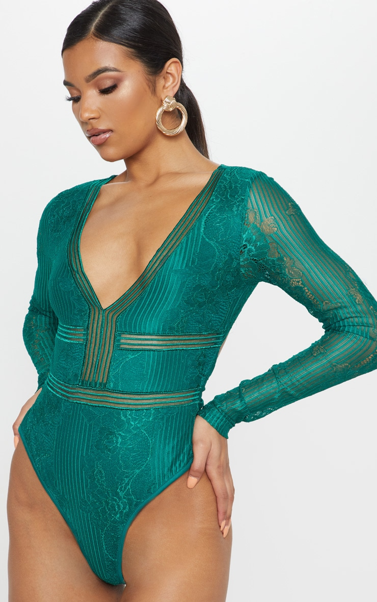 Emerald Lace Open Back Thong Bodysuit 2