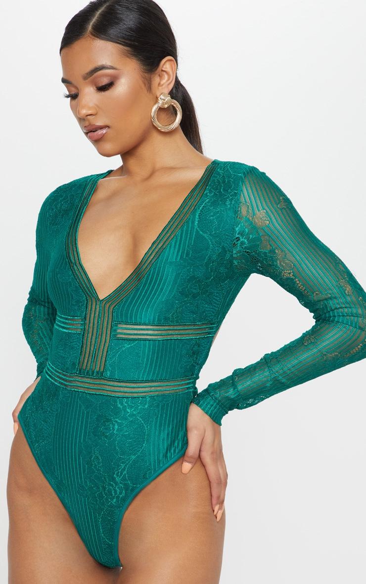 Emerald Lace Open Back Thong Bodysuit 2