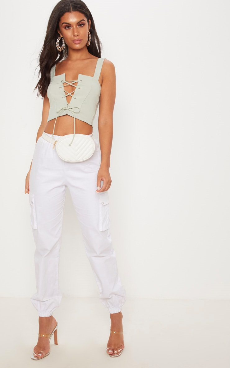 Sage Lace Up Scuba Crop Top 4