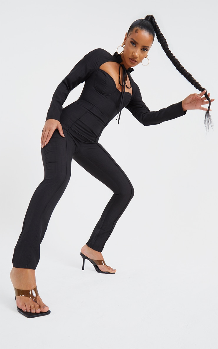 Black Tie Neck Cup Detail Long Sleeve Jumpsuit 3