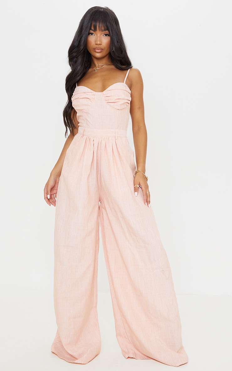 Tangerine Ruched Cup Strappy Wide Leg Jumpsuit 1