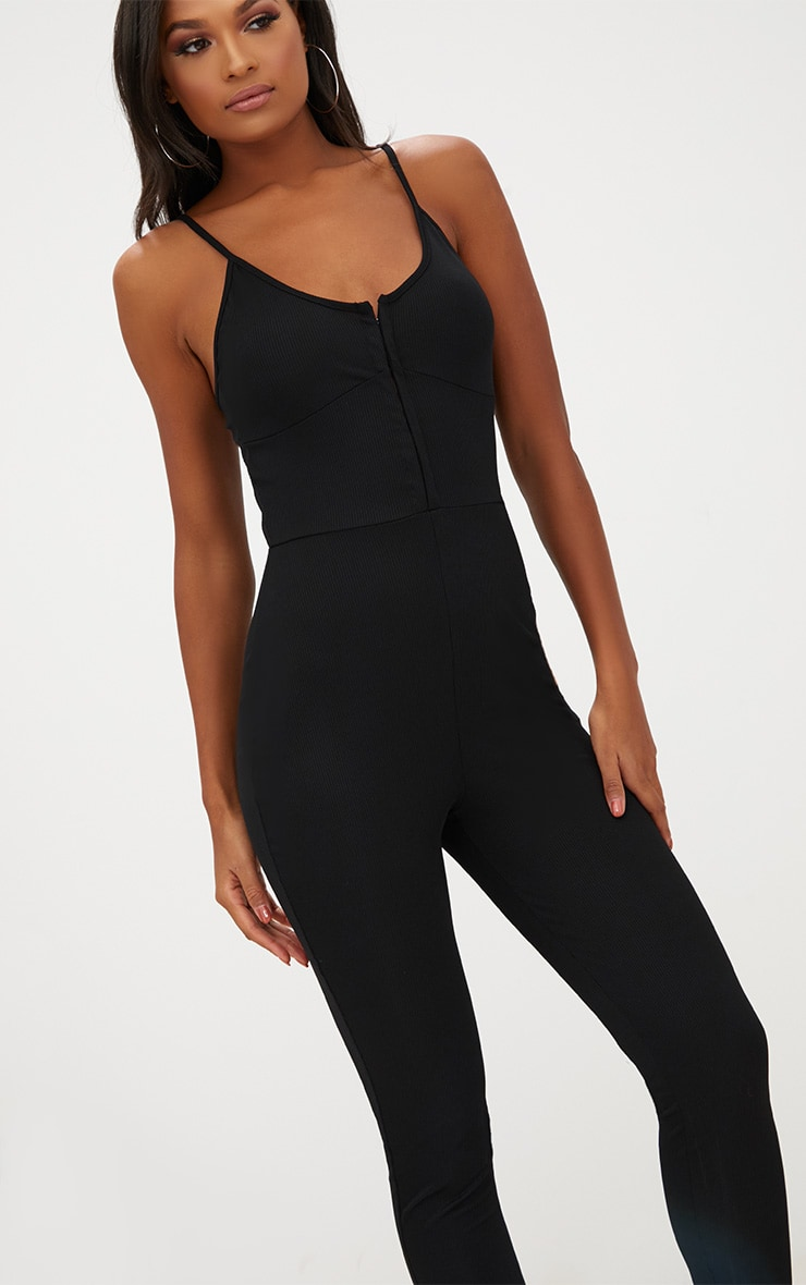 Black Ribbed Hook And Eye Jumpsuit 5