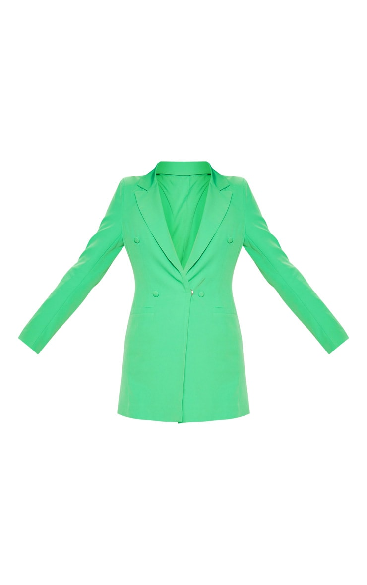 Bright Green Double Breasted Woven Blazer    3