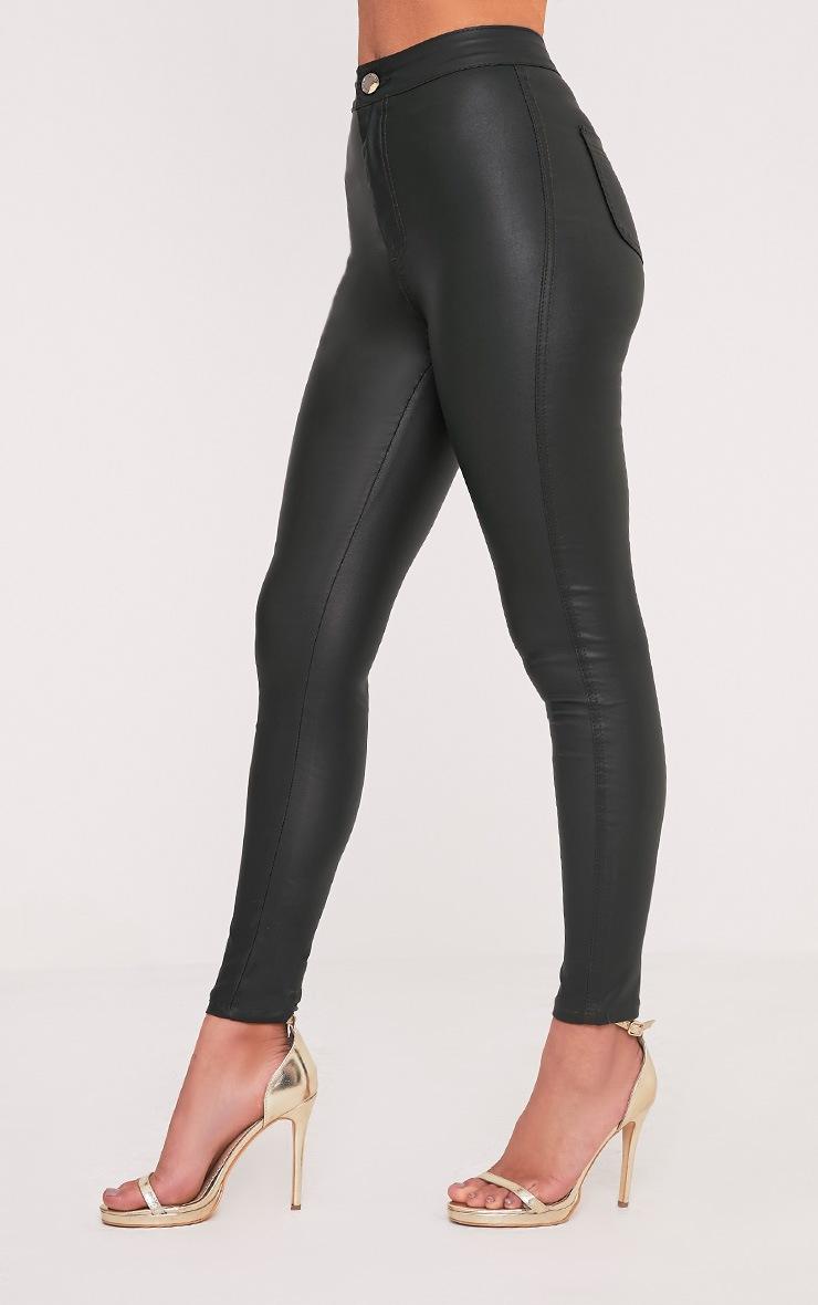 Tyris Dark Khaki Leather Look Coated Skinny Trousers 4