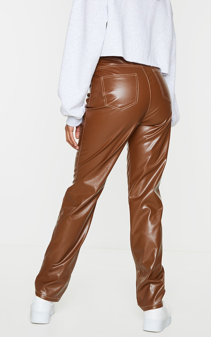 Chocolate Faux Leather Contrast Stitch Straight Leg Pants 3