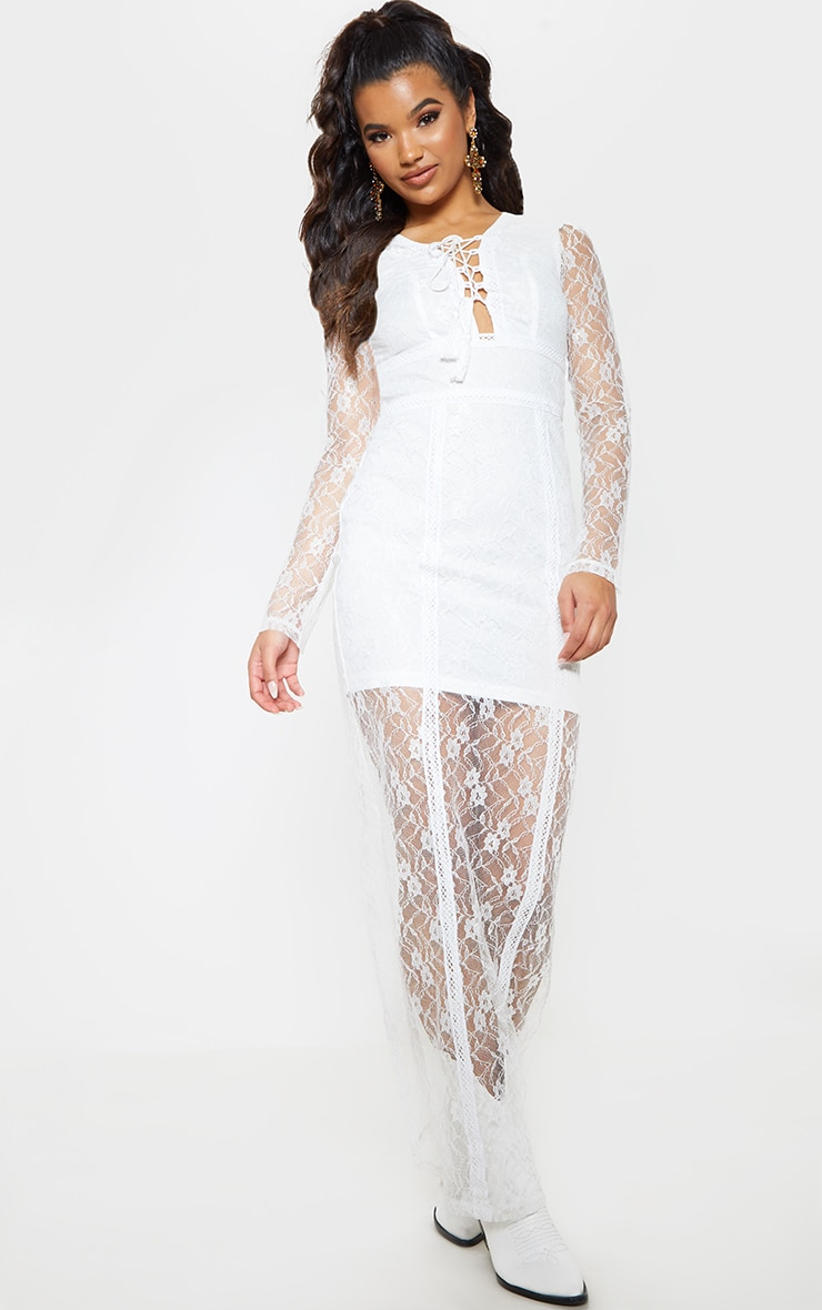 White Lace Boho Lace Up Maxi Dress 2