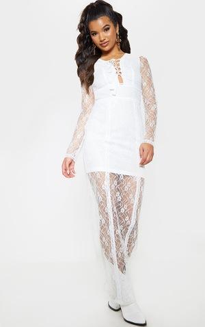 premium selection cheapest lower price with Robe longue en dentelle blanche style bohème à laçage