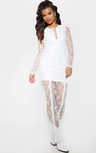 White Lace Boho Lace Up Maxi Dress