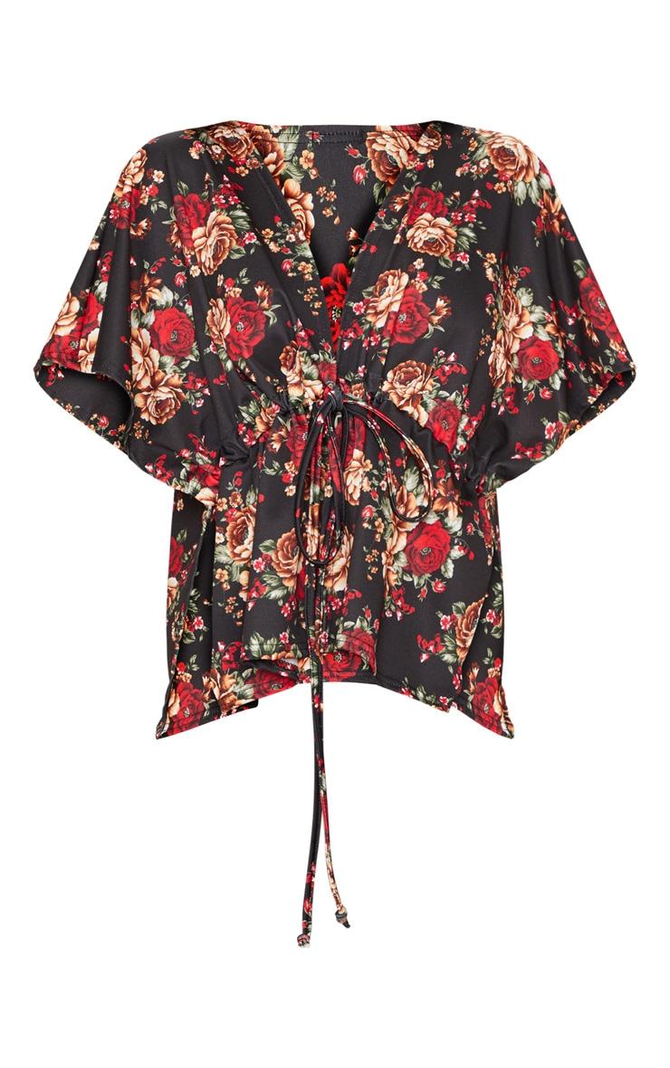 Black Printed Tie Waist Kimono Top  3