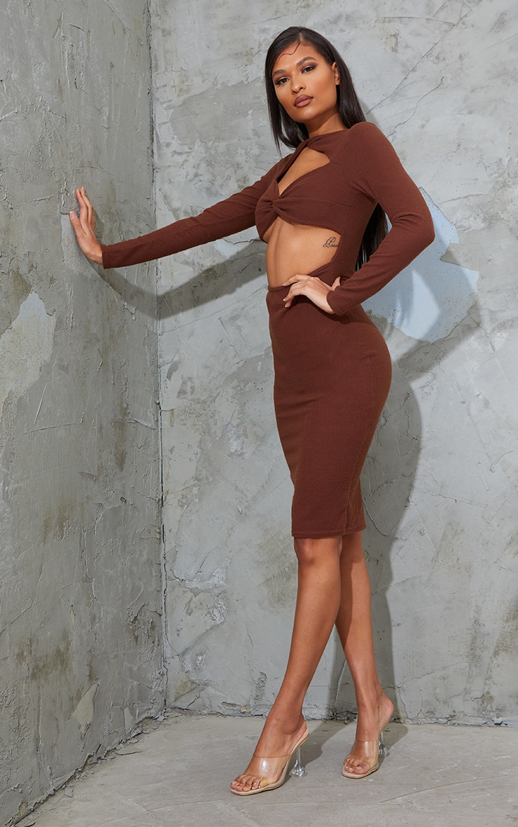 Chocolate Brushed Rib Twist Detail Cut Out Midi Dress 1