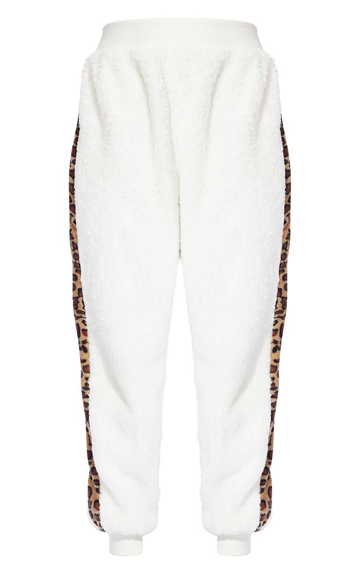 Cream Leopard Print Contrast Borg Joggers 5