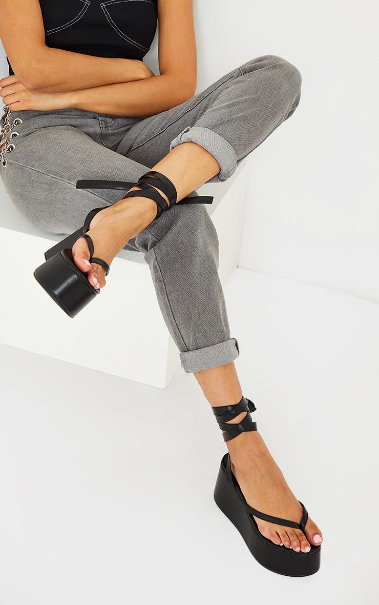 Black Toe Thong Ankle Tie High Flatform Sandals 1