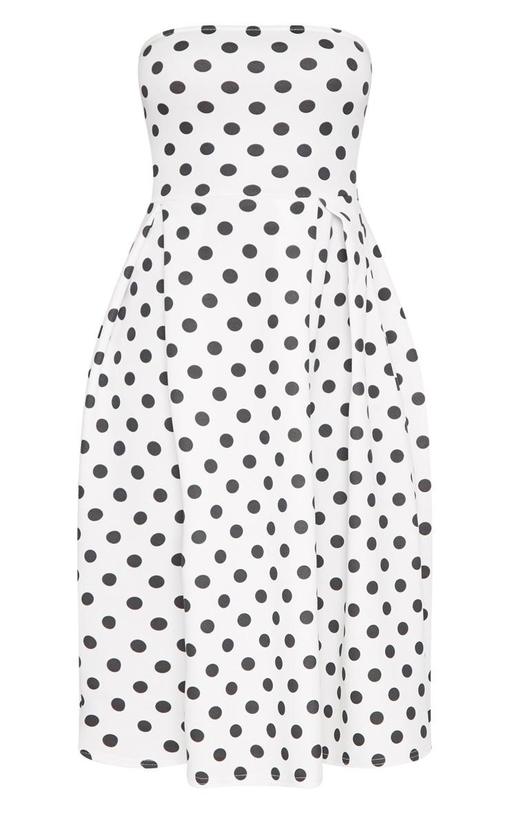 White Polka Dot Bandeau Midi Skater Dress 3