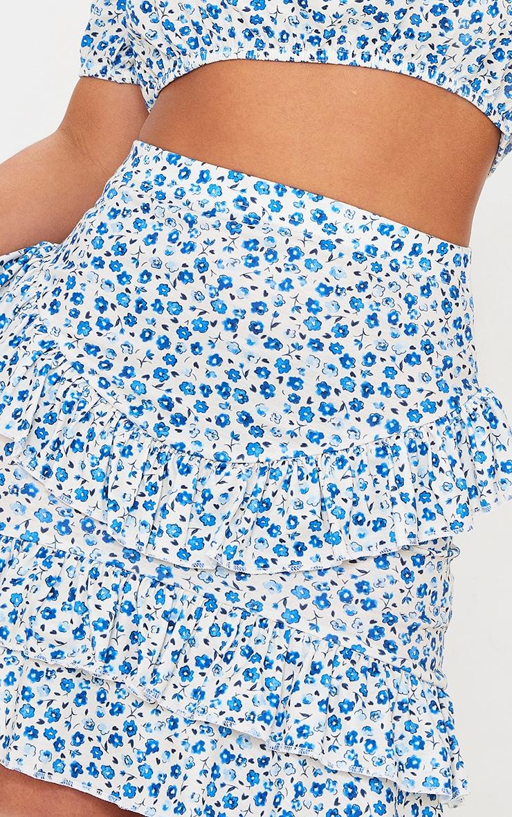 Petite Baby Blue Ditsy Floral Ruffle Mini Skirt 5