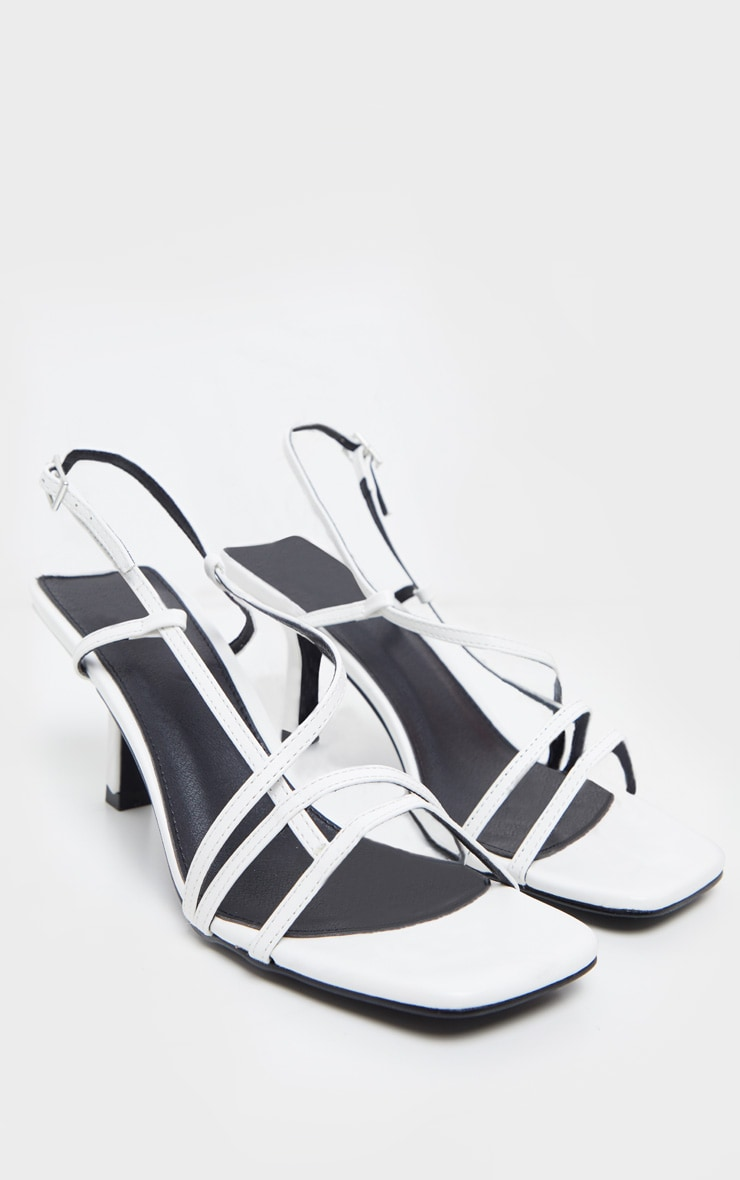 White Low Heel Strappy Sandal 3