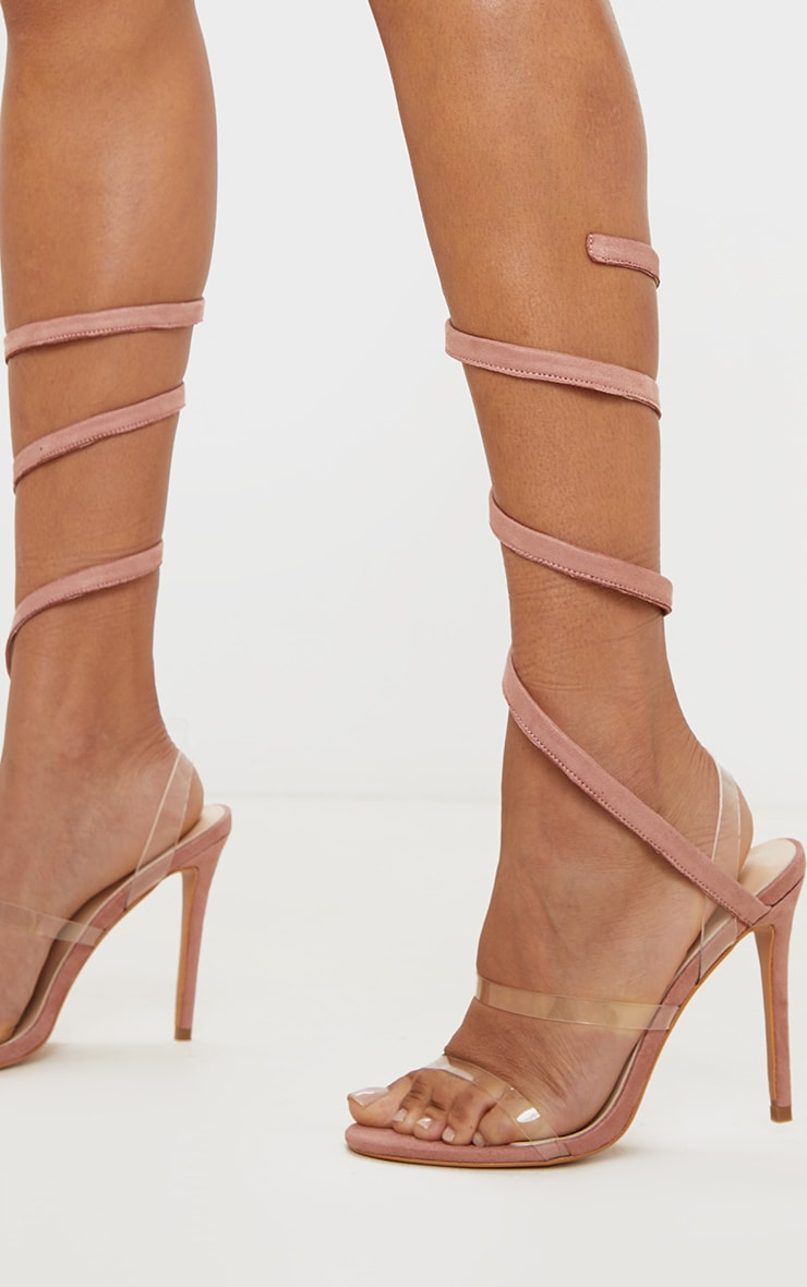 Dusty Rose Ankle Wrap Strappy Heeled Sandal 1