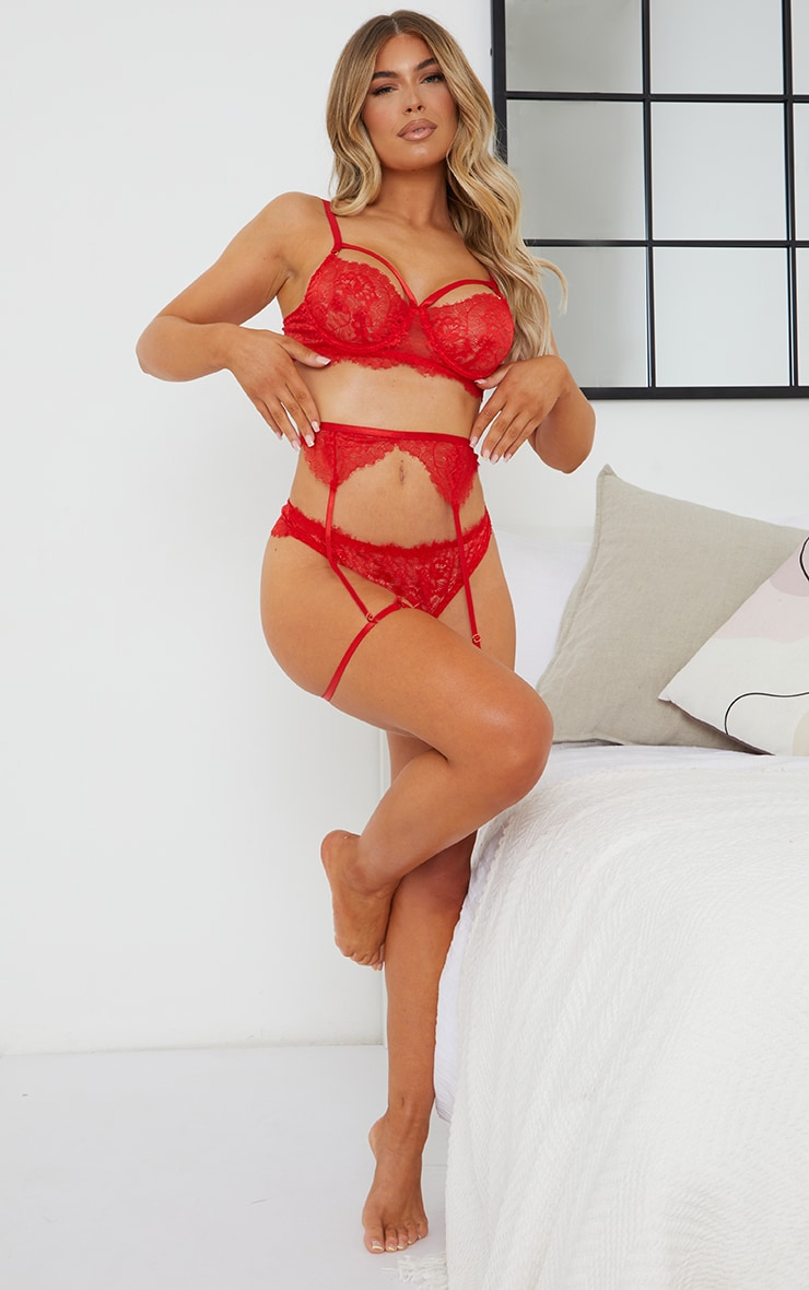 Red Harness Strap Delicate Lace Suspender 3 Piece Lingerie 3