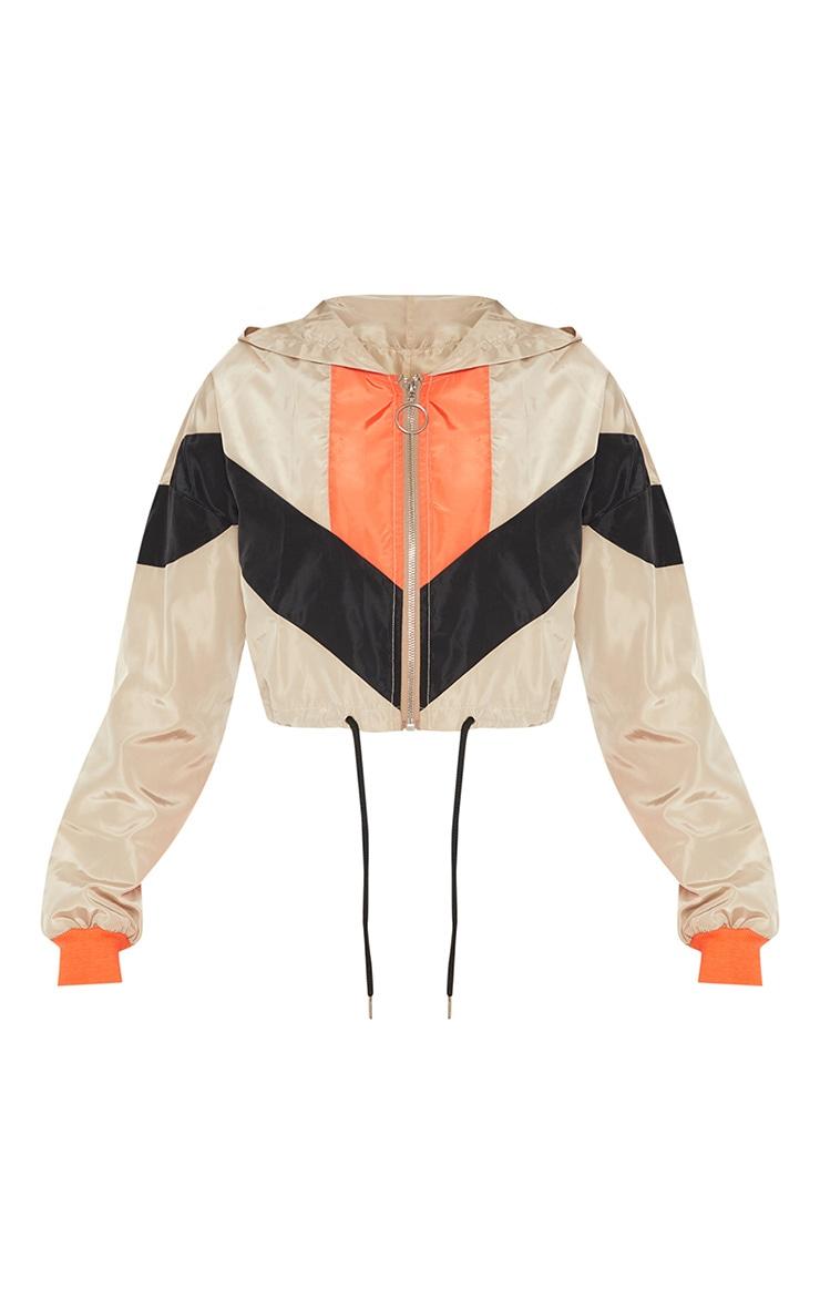 Stone Colourblock Hooded Shell Suit Crop Windbreaker 3