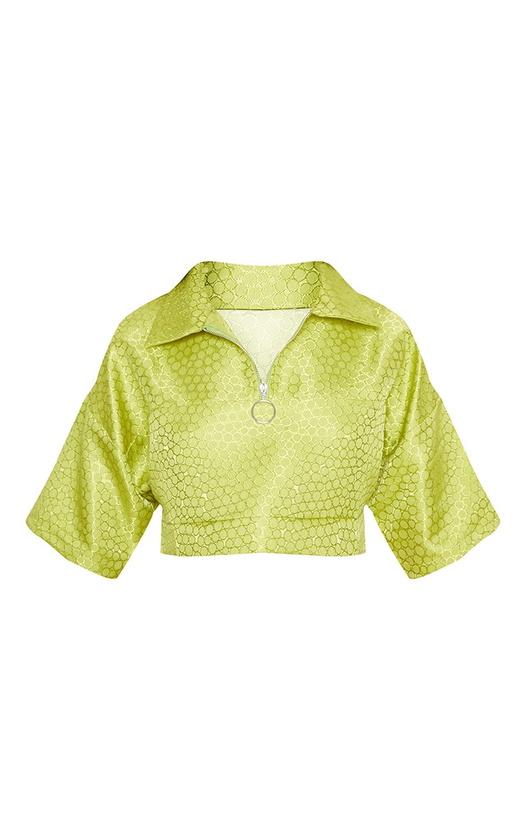 Lime Green Jacquard Ring Pull Crop Top 4