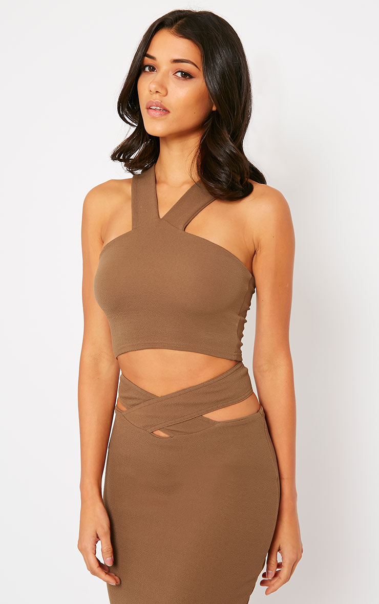 Shanel Mocha Crepe Halter Neck Crop Top 1