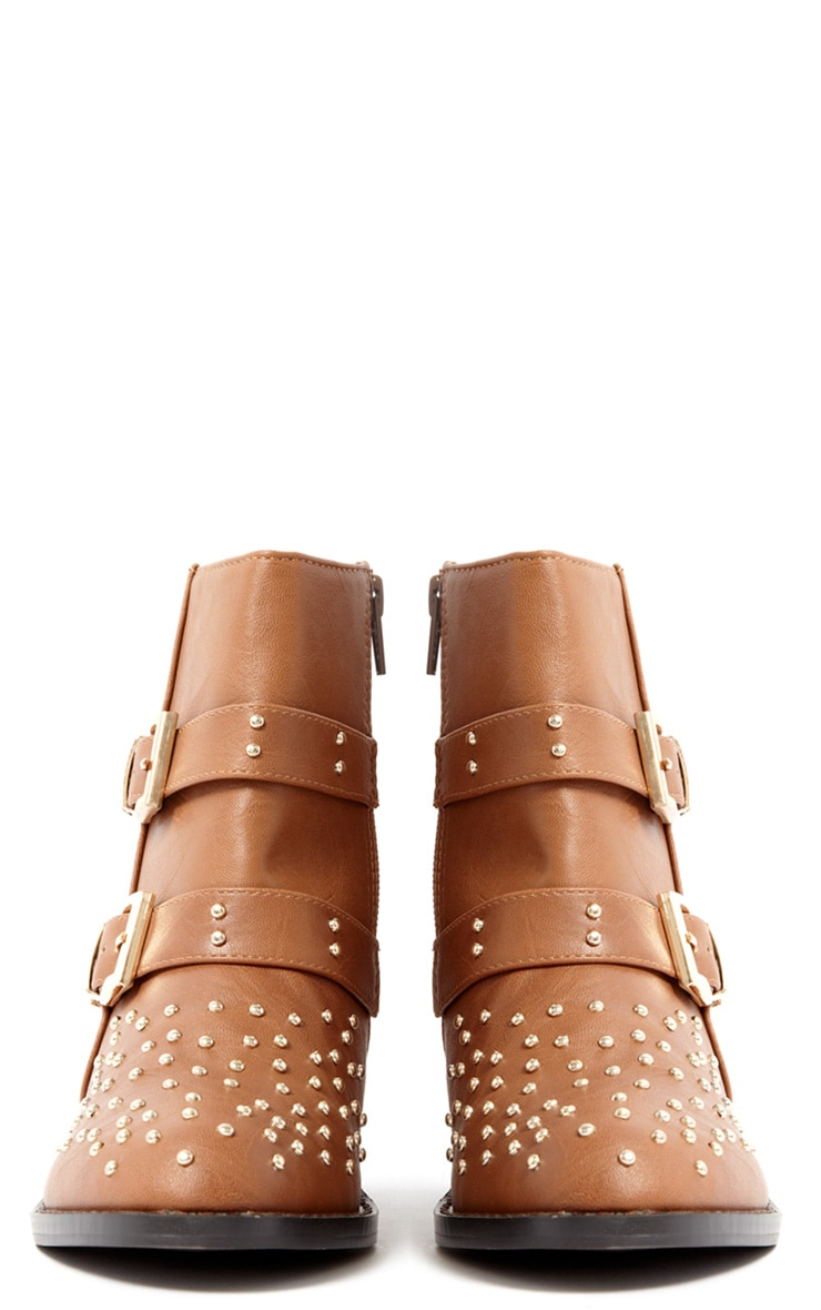 India Tan Stud Buckle Boots 3
