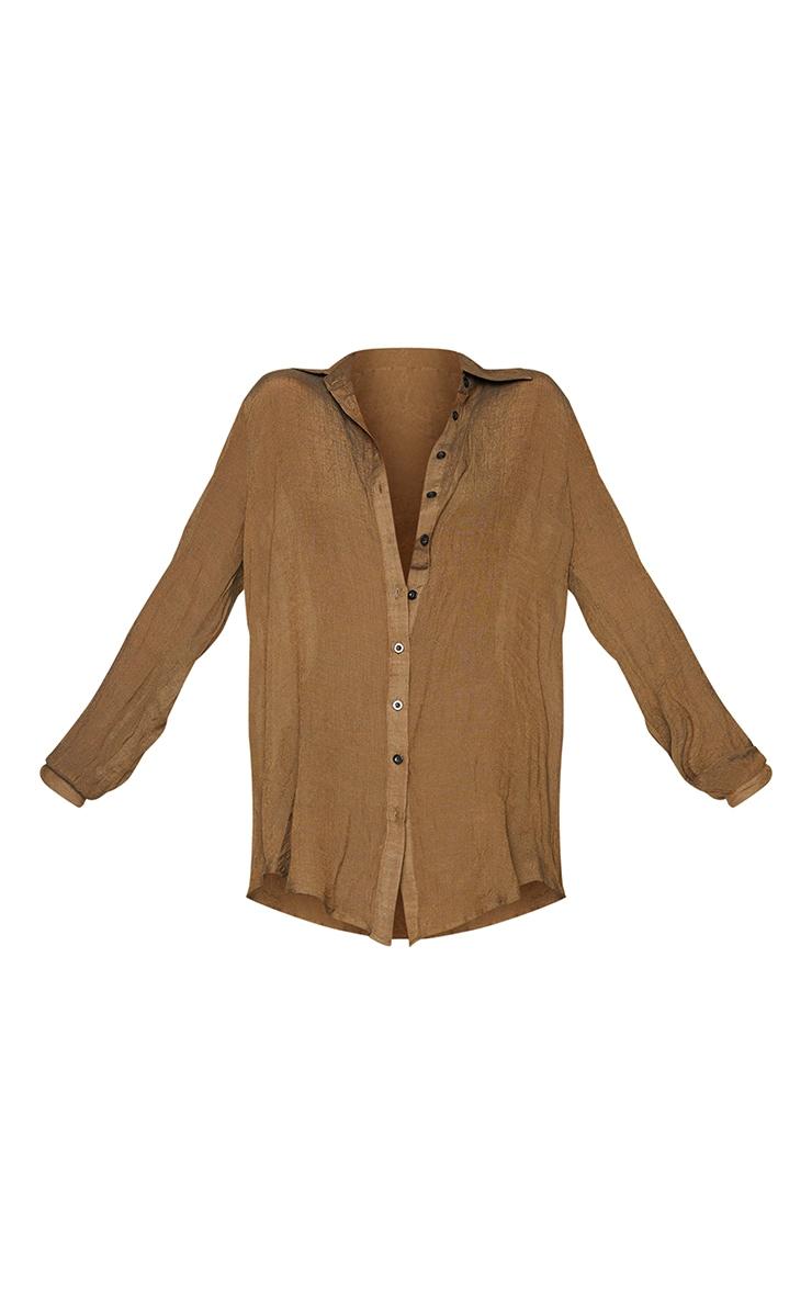 Brown Linen Look Beach Shirt 5