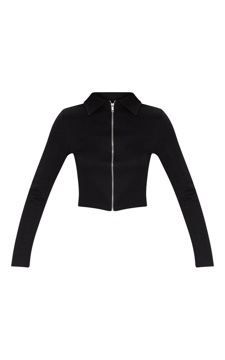Black Rib Zip Up Long Sleeve Polo Top 3