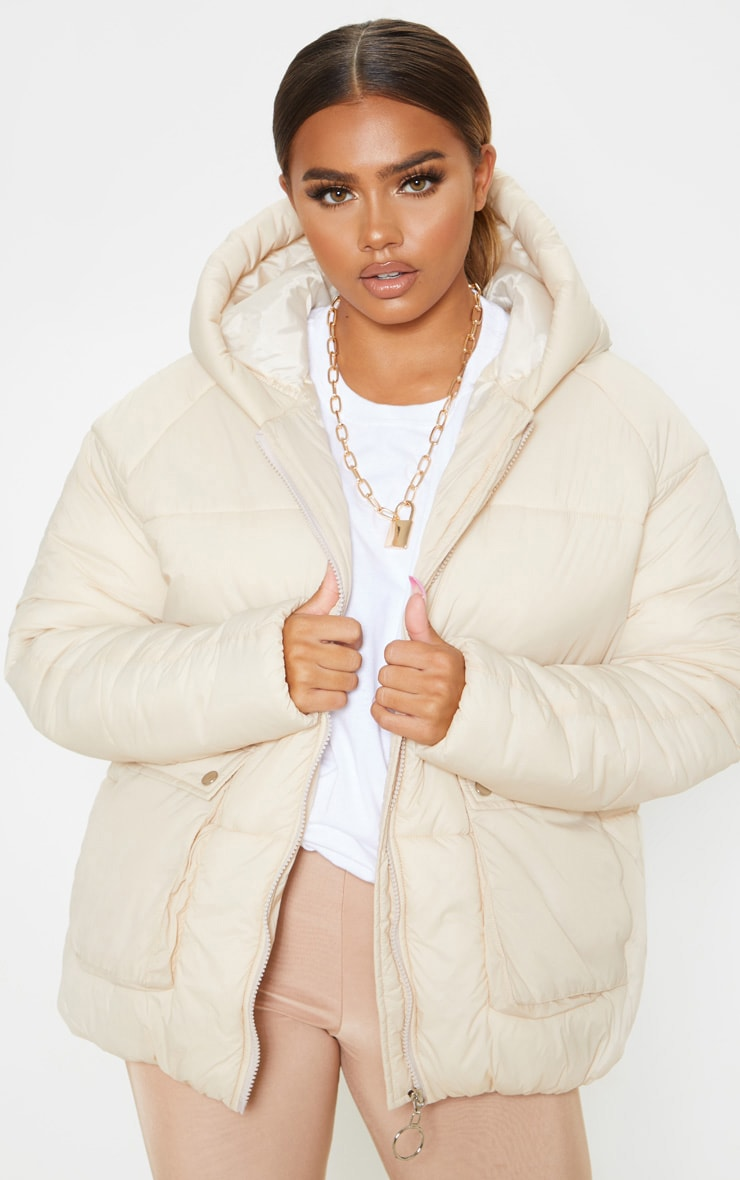 Cream Pocket Front Hooded Puffer 1