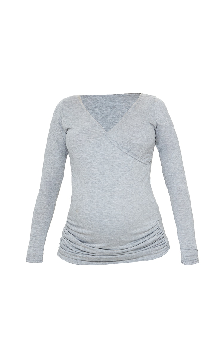 Maternity Grey Jersey Ruched Bump Long Sleeve Top 5