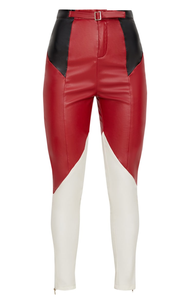 Maroon Faux Leather Belted Motocross Trousers 3
