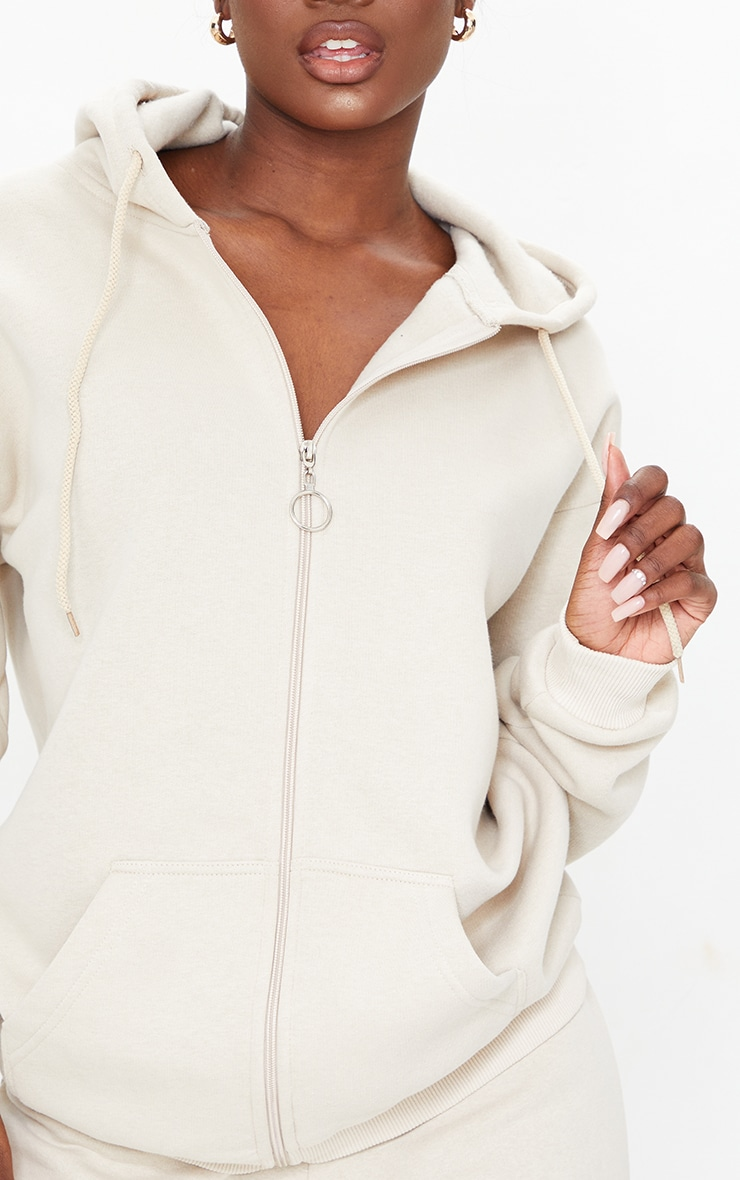 Tall Stone Extreme Oversized Pocket Front Zip Through Hoodie 4